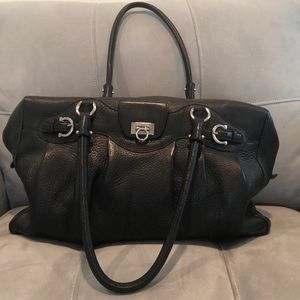 Black leather Salvatore Ferragamo bag